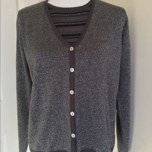 Karen Scott Sweater metallic gray sz Medium
